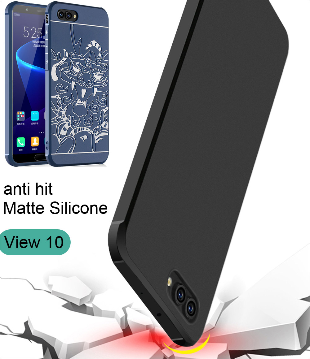Galleria fotografica COCOSE Drop resistance anti hit Silicone Case For Huawei <font><b>Honor</b></font> <font><b>View</b></font> 10 V10 Matte Frosted 3D Dragon Armor Cover
