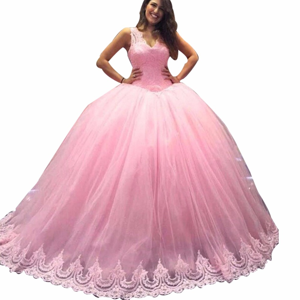 ZYLLGF Italian Style Ball Gown V Neck Pink Bridesmaid