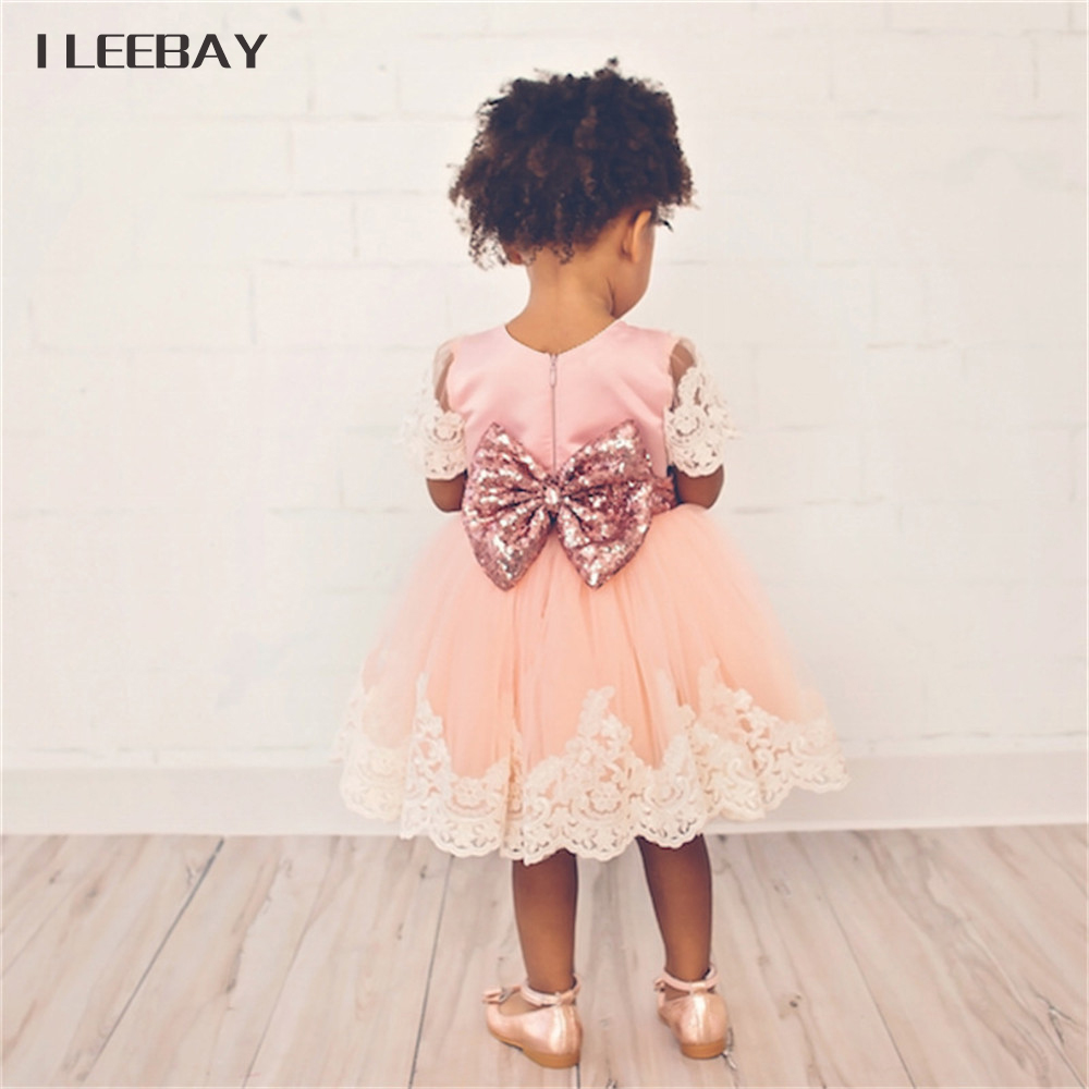 Sequined Beading Girls Princess Tutu Dress Bow Baby 1 Year Birthday Tulle Dress Kids Lace Floral Gown Children Princess Clothes baby girls dress 2016 brand new girls princess dress children s birthday party sequined dress pink tutu kids free shipping