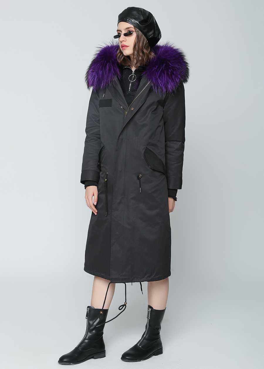 2019 Real Fur Coat Winter Jacket Women Long Parka Waterproof Big Natural Raccoon Fur Collar Hood Thick Warm Real Fox Fur Liner 61