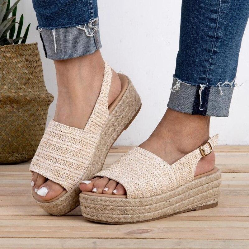 HEFLASHOR Comfortable Sandals Fasten-Shoes Heel Female Fashion 43 Torridity Plus-Size