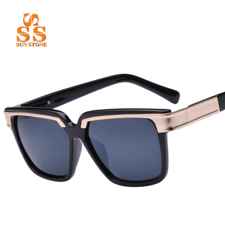 SUNSTONE 2016 Designer Street Hip Hop Style Square Frame Brand Sunglasses Box Men Women Colorful Reflective