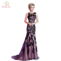 Custom Made Mermaid Evening Dresses Scoop Floor Length Black Lace Applique Tulle Real Photos 2015