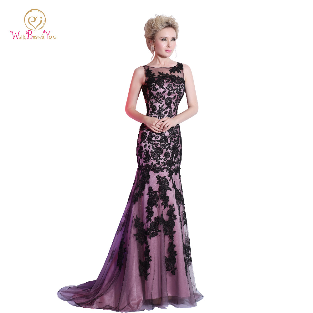 Mermaid   Evening     Dresses   Scoop Floor Length Black Purple Formal   Dresses   Long Sweep Train Lace Applique Party Gown Real Photo 2018
