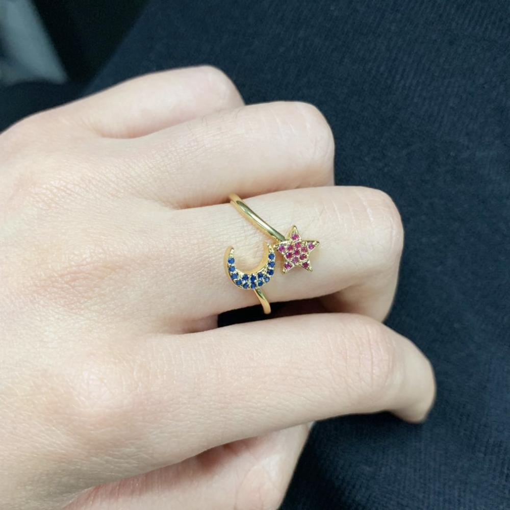 Molinuo fashion cubic zircon trendy jewelry stars and moon Gold filled open adjust finger ring for women 2019 in Rings from Jewelry Accessories