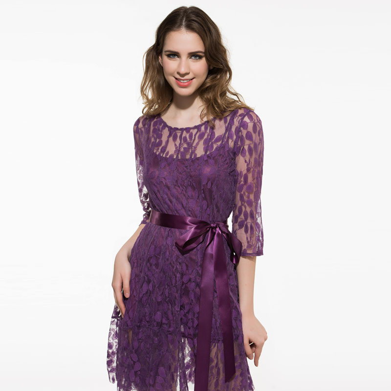 7218a15d837 Kinikiss women lace dress 2017 spring summer dark purple lace up party dress  plain plus size sexy fashion new cute lace dresses-in Dresses from Women s  ...