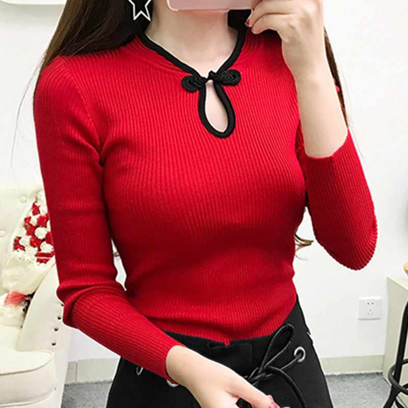 Women Elegant Cheongsam Turtleneck Sweater Women Vintage Long Sleeve Sweater Pullover Autumn New Fashion Knitted Sweater Tops