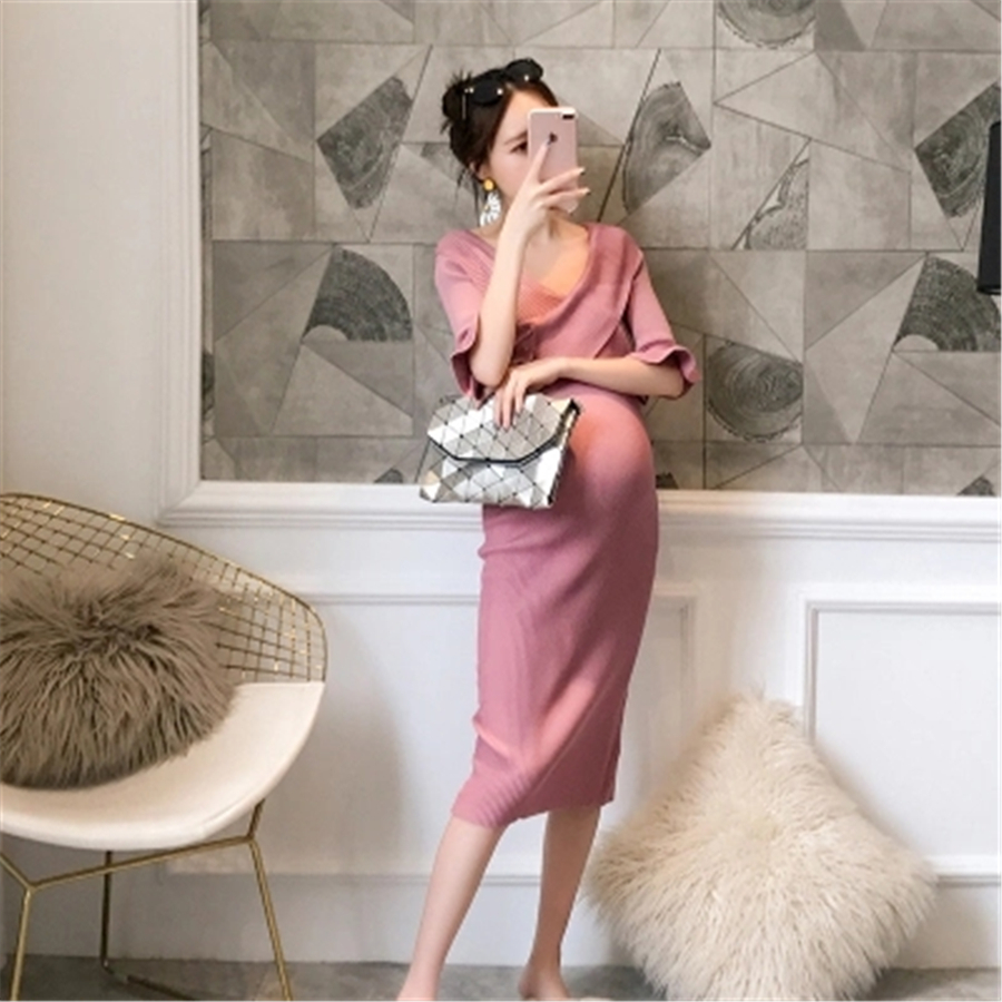Maternity Dress Fashion Soft Knitted Clothes for Pregnant Women Pregnancy Clothing Women Pregnant Top Shoulderless Dress 70R0180 2016 summer new maternity clothes for the pregnant women 100% cotton fashion maternity dress doll dress big size gravida clothes