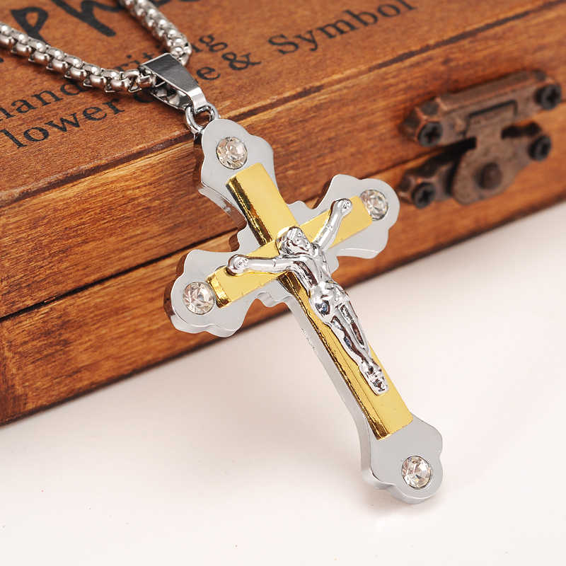 Bangrui Two Tone Gold Color Orthodox Christianity Church Eternal Cross Pendant Necklace Jewelry Russia/Greece/Ukraine