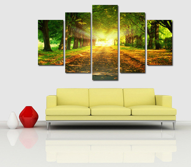 5 Panels Park straight road Modern Canvas Wall Art for Wall Decor ...