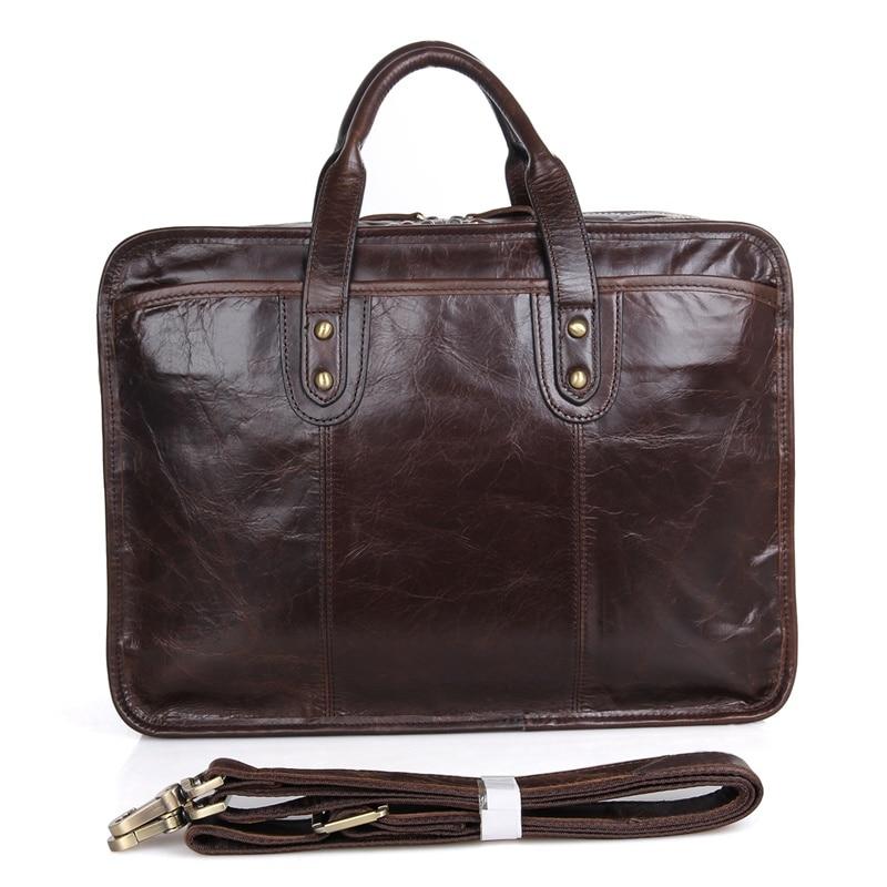 J.M.D 100% Genuine Cow Leather Briefcases Top Handle Laptop Bag Men's Handbag 7345C