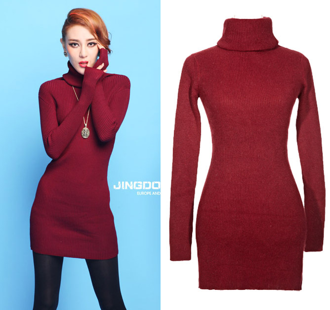 2014 Long Winter Turtleneck Long Sleeve Knitwear Casual Vintage ...