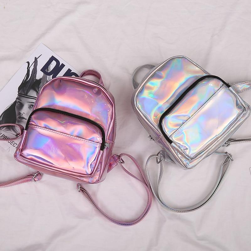Women Mini Bright Laser Backpack Korean School Travel Rucksack Satchel Fashion Shoulder Bag New
