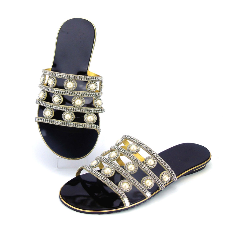 2017 Newest Africa Low Heels Slipper Shoes Italian Desgin Rhinestone Summer Woman Shoes 5Color Factory Wholesale Price ABS1117
