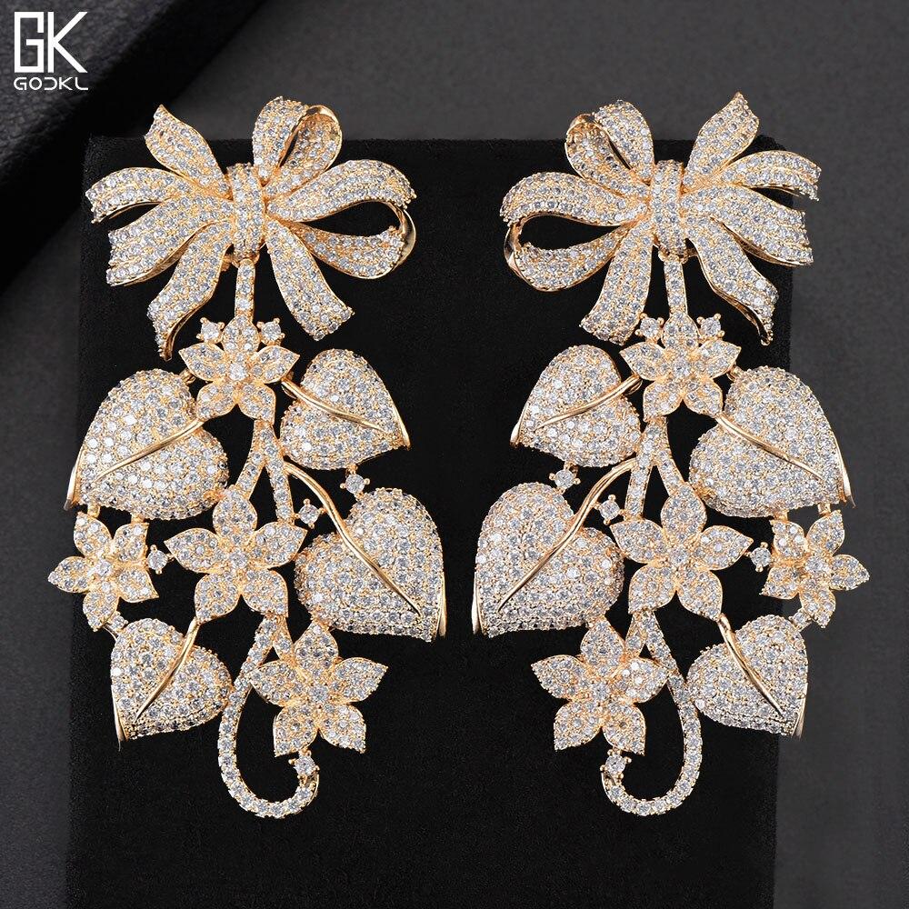 GODKI Luxury Pumpkin Leaf Flower Bowknot Nigerian Long Dangle Earrings For Women Wedding Zirconia CZ Dubai