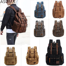 Stylish Travel Large Capacity Cotton Canvas Backpack Male Luggage Crazy Horse Leather Shoulder Bag Men Functional Versatile Bags backpack europe men s cow leather large capacity backpack retro crazy horse leather travel bag leisure backpack
