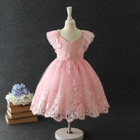 Kids Dress For Girls Clothes with Flower Appliques Baby Girl Clothes 2019 Summer Party Princess Dress Girl Clothes 3 14 years