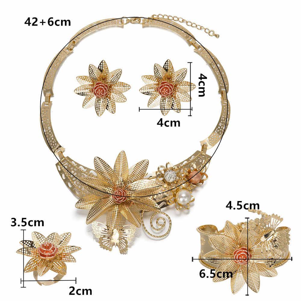 BAUS Dubai garnitur biżuteria w stylu kwiatu złoty zestaw biżuterii kolor ślub nigeryjski koraliki afrykańskie etiopskie złote akcesoria dla nowożeńców