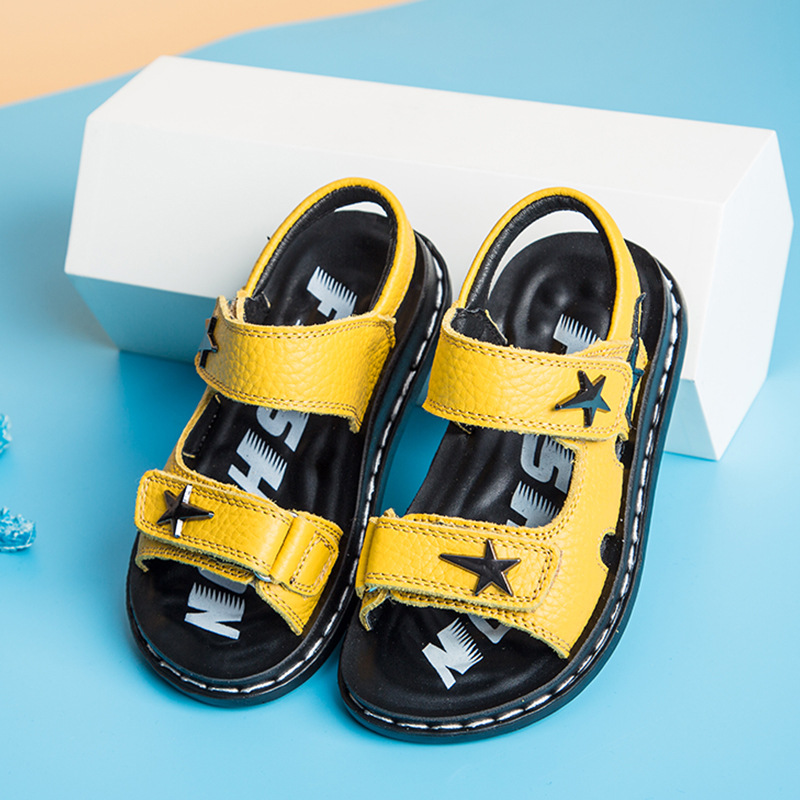 Fashion Sandals for Boys 2018 New Casual Genuine Leather Boys Sandal for Kids School Shoes Anti-Slip Star Children Sandals