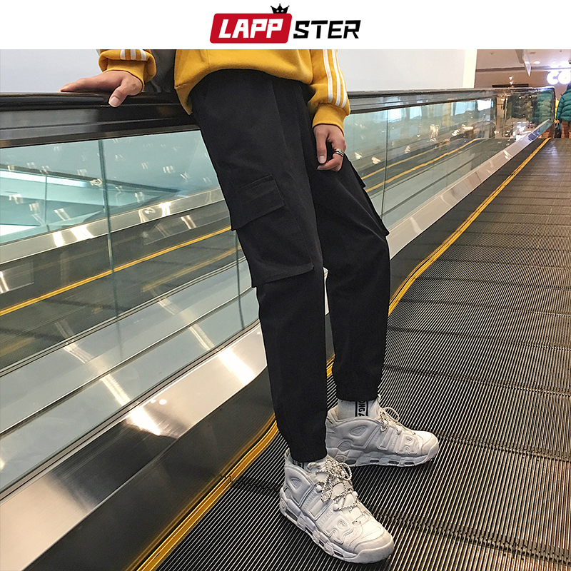 LAPPSTER solid streetwear track pants 2020 overalls mens hip hop baggy sweatpants casual fashions black joggers cargo pants 2XL