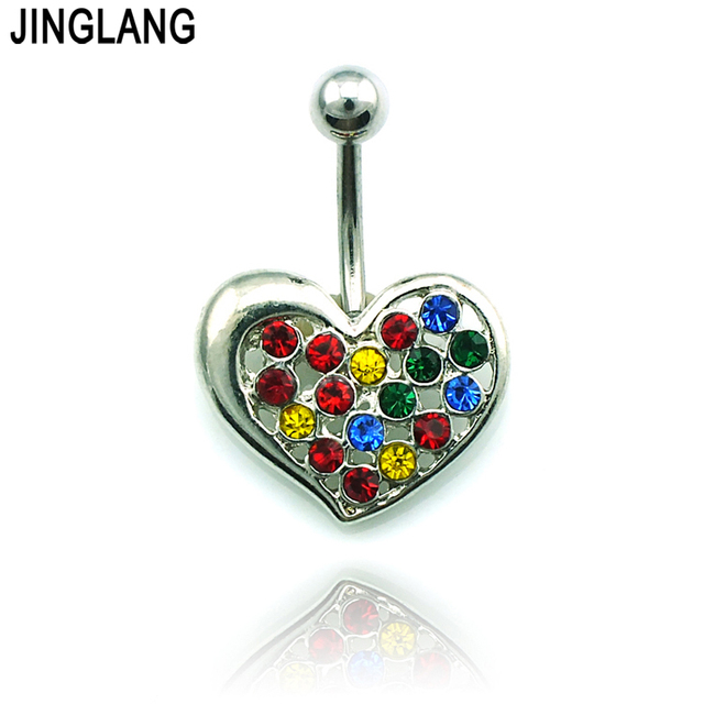 Jinglang Fashion Hypoallergenic Navel Rings Surgical Steel Barbell Color Rhinestone Pierced Heart Belly Piercing Jewelry On Aliexpress Com Alibaba