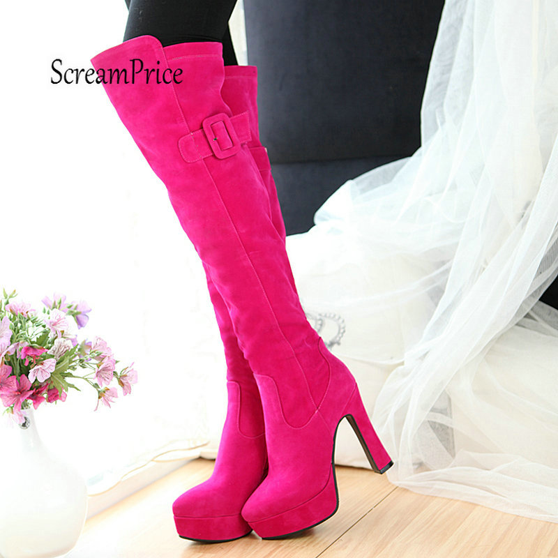 Plus Size 43 Platform Chunky High Heel Over The Knee Boots Side Zipper WInter Warm Fashion