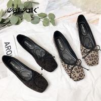 Spring Shoes Leopard Flat Woman Shoes Square Toe Ballet Flats Ladies Leopard Shoes Slip On Loafers Women Ballerina Flats Korean