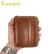 CHARAS Cow Leather wallet men/women high quality Genuine High capacity zipper Coin Purse Pocket Unisex Clutch