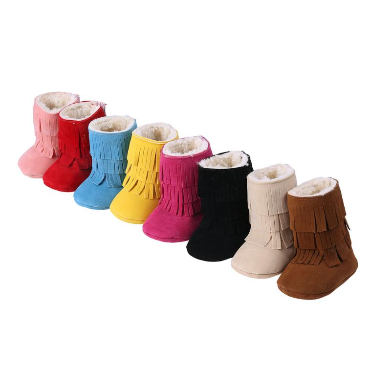 Fashion Winter Warm Baby Girls Boots Shoes 3-Layers Tassel Thick Fleece Line Infants Snow Boots Soft Bottom Shoes First Walkers