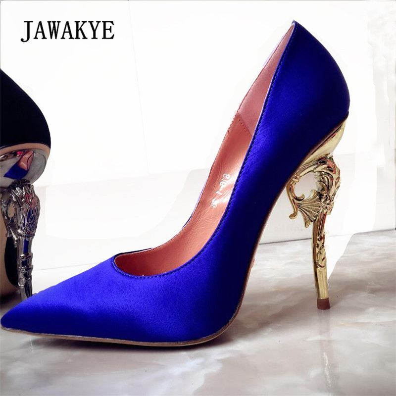 New Arrival Luxury Satin High Heel Shoes Woman Pointed Toe Metal Strange Heeled Pumps Fashion Stiletto Women Sexy Wedding Shoes стоимость