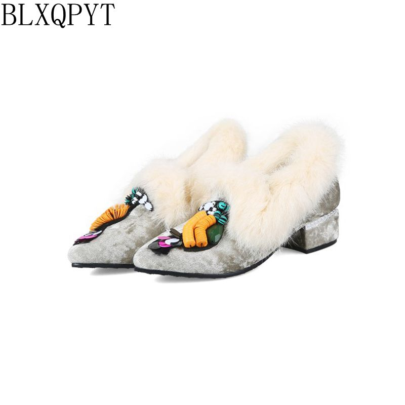 BLXQPYT 2018 New Sweet Big Size 32-48 Shoes Woman Autumn Winter Fur Ladies Loafers Pointe Toe Casual Wedding Party Shoes 018-21