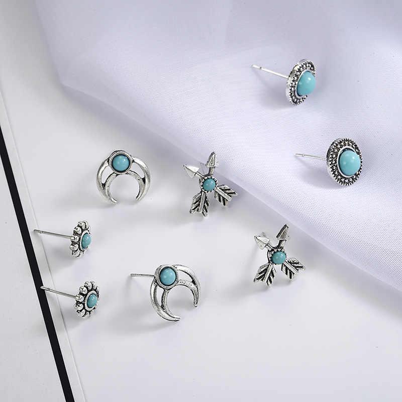 Модные простые серьги-гвоздики женские смешанные круглые синие Луна солнце стрелка набор сережек Brincos свадебный подарок на день рождения оптом ez5