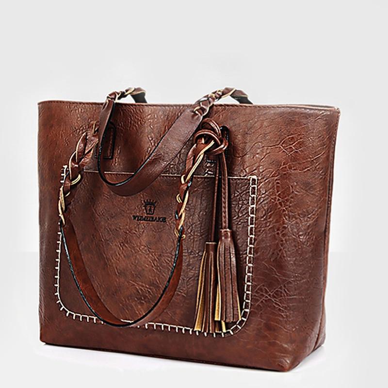 2018 gran capacidad mujeres bolsas de hombro bolsos nuevos bolsos del mensajero de las mujeres con borla diseñadores famosos bolsos de cuero