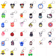 hello cat kitty porte clef Cartoon marvel Keychain minions Key Ring Bag Pendant PVC Figure Charms Key Chains Jewelry llaveros(China)