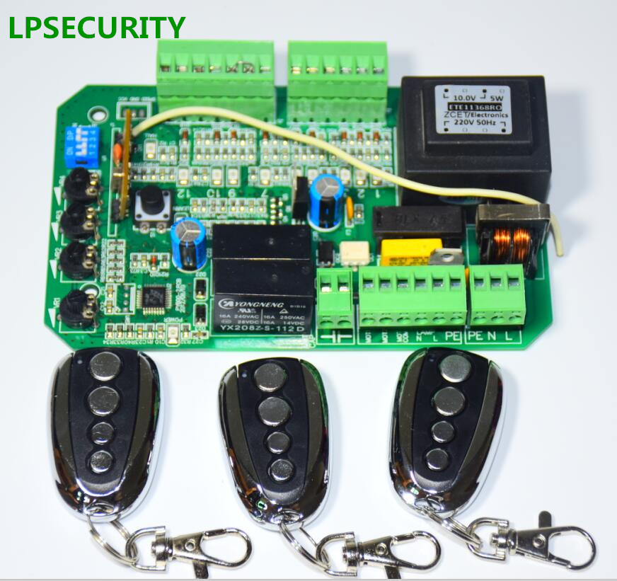 LPSECURITY 3 remote controls sliding gate opener motor pcb circuit board controller card for PY600 L 220V/110V AC motor USE-in Electric Door Control System from Security & Protection    1