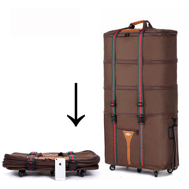Large capacity Oxford cloth Consignment by Air travel bag folding suitcase Super great checkbox baggage brown