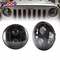 TNOOG 80W 7 Inch Round Projector LED Headlights White DRL For Jeep Jk Tj Lj Sahara