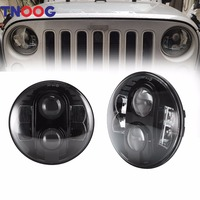 TNOOG 80W 7 Inch Round Projector LED Headlights White DRL For Jeep Jk Tj Lj Sahara