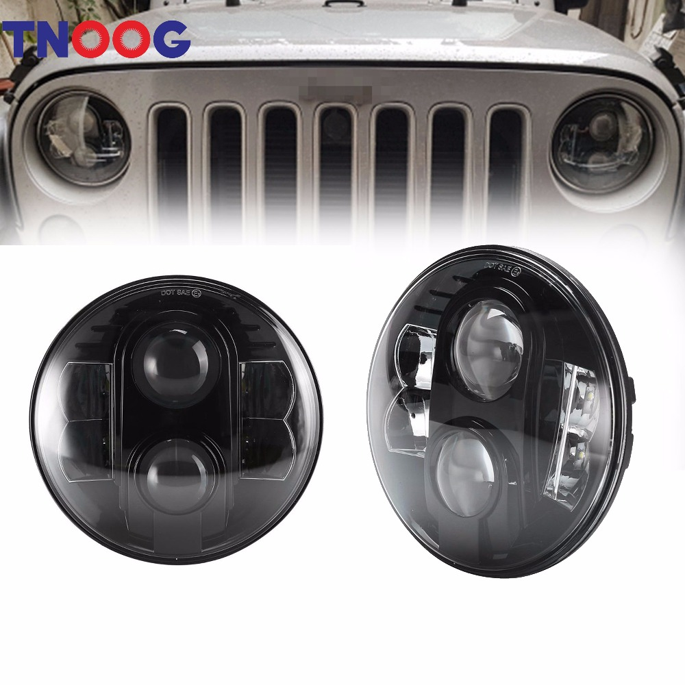 TNOOG 80W 7 Inch Round Projector LED Headlights White DRL for Jeep Jk Tj Lj Sahara Unlimited Islander Hummer H1 H2 DOT windshield pillar mount grab handles for jeep wrangler jk and jku unlimited solid mount grab textured steel bar front fits jeep
