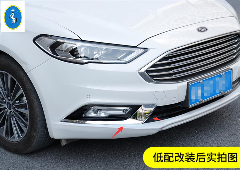 New Style For Ford Mondeo / Fusion 2017 2018 Stainless Steel Front Fog Light Lamp Eyelid Eyebrow Cover Trim 2 Pcs / Set
