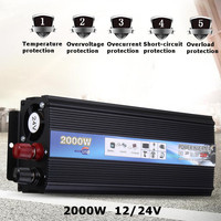 Car Inverter 2000W DC12V 24V To 220V AC 50HZ Modified Sine Wave Power Inverter Charger Converter