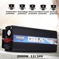 Car Inverter 2000W DC12V 24V To 220V AC 50HZ Modified Sine Wave Power Inverter Charger Converter