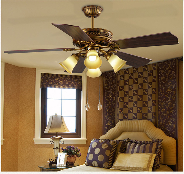 52inch Ceiling Fan Lights Luxury Antique Wood Living Room Bedroom Dining Light