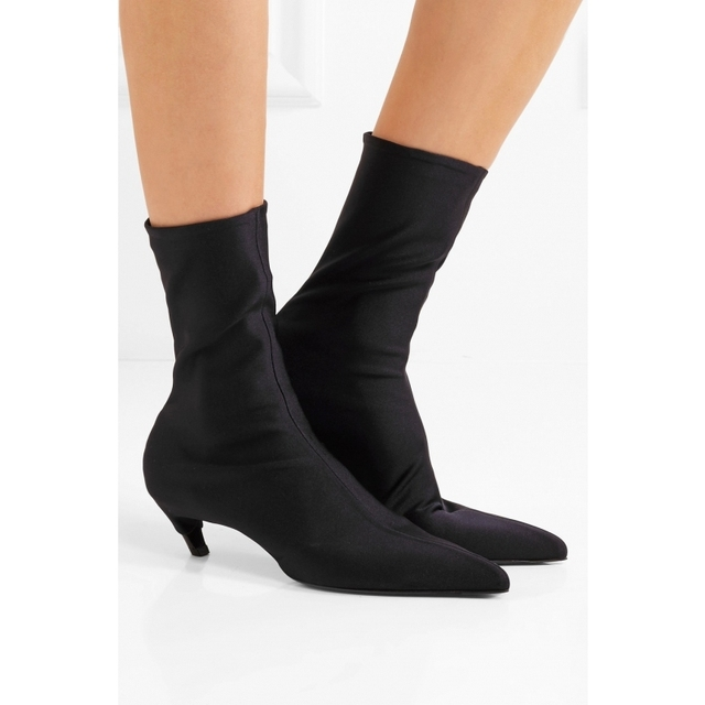 779f5465d311b Bota Feminina Black Stretch Fabric Ankle Boots Exaggerated Pointed Toe  Slanted Kitten Heel Booties Slip On Sexy Sock Shoes Woman