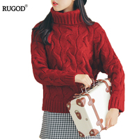RUGOD Turtleneck Loose Winter Women Sweaters And Pullovers Solid Thick Warm Oversize Sweater Women Casual Long