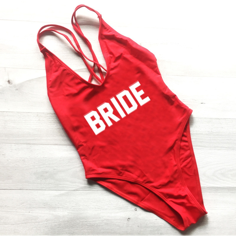 2018 Bikini Women Swimwear One Piece Swimsuit BRIDE High Cut Bathing Suit Red Monokini Bodysuit Young girls Party Zwarte Zwempak