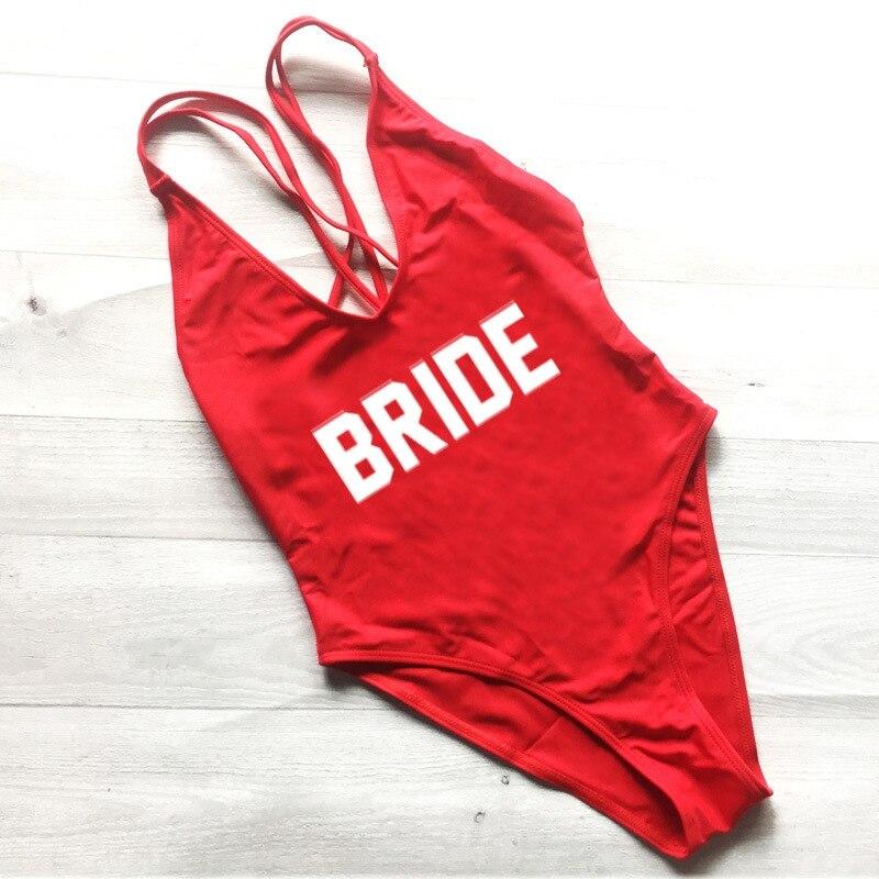 2018 Bikini traje de baño de una pieza novia corte alto traje de baño rojo Monokini niñas partido Zwarte Zwempak