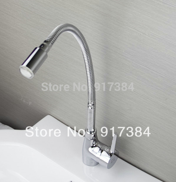 LED Light New Kitchen Swivel 360 Spout Single Handle Sink Faucet Spray Mixer Taps Brass Chrome