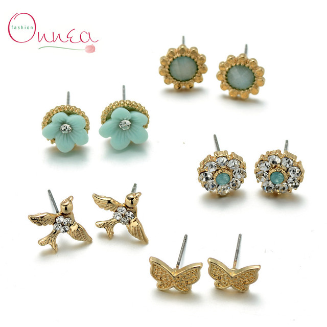 b9bd10173 Onnea 5pair/lot New Arrival Bird Flower Butterfly Stud Earrings set  Charming Design Crystal Multiple Pairs Earring with Gift Box