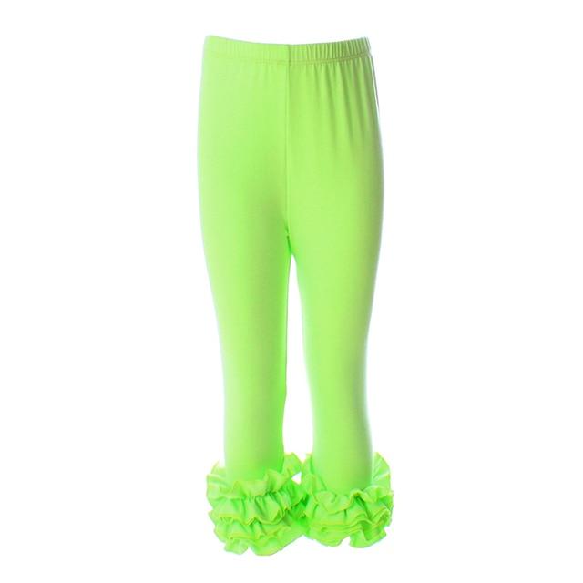 a624a1ea7725f Girl Leggings Children Kids Capris Pants Ruffle Children's Clothing Lime  Cotton Capris Baby Capris Girls Leggings Ruffle Capris